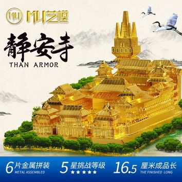 MU 3d JIN AN TEMPLE PUZZLE YM-N019-G Metal assembly model Architecture Series jigsaw toys kids Collection gift