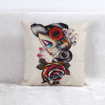 Vintage Printed Pillow Case Halloween Skeleton Female Cushion Cotton Linen Cover Square 45X45CM