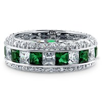 Sterling Silver Simulated Emerald CZ Eternity Band Ring 4.74 ct.twBe the first to write a reviewSKU# R851-05