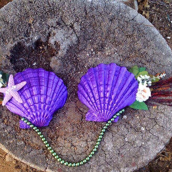 Ariel Inspired seashell Bra/ Mermaid Bra / Ariel's Purple Bra Made To Order!