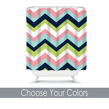 Chevron SHOWER CURTAIN Custom MONOGRAM Personalized Chevron Bathroom Decor Pink Navy Aqua Lime Colors Beach Towel Plush Bath Mat Made in Usa