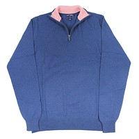 Quarter Zip Cashmere Sweater in Navy by Michael's - FINAL SALE