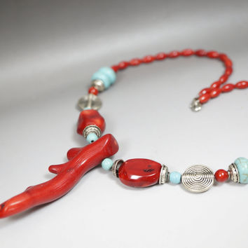 Large Coral Necklace Coral Jewelry Red Coral Chunky Red Coral Choker Turquoise N