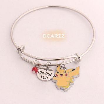 "Go Pikachu Bangle""I Choose You""Hand Stamped Pendant with Crystal Charm Bracelet Anime/Game Cosplay Jewelry GeekeryKawaii Pokemon go  AT_89_9"