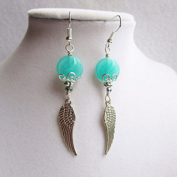 Aqua Czech Glass & Crystal Long Silver Wing Earrings, Whimsical Jewelry