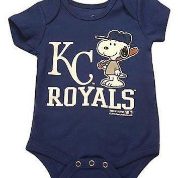 Kansas City Royals Newborn Infant Creeper Snoopy Peanuts Baby Romper MLB Apparel