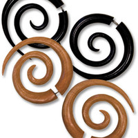 Spiral Wood Earrings - Soul-Flower Online Store
