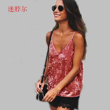 2017Women tops Vintage party streetwear Sexy velvet v neck camisole tank top Loose backless strap camis tube top S-XL