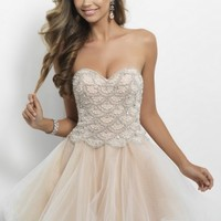 Blush 9650 Scalloped Beading Top Short Nude Strapless Homecoming Dress [Blush 9650] - $185.00 : 2015 Trends Fashion Dresses For Prom,Save Up 50%