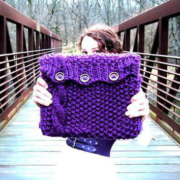 Knitted Laptop Sleeve Computer Cozy Electronic Case Purple Cable Knit With Buttons Gadget Accessories Plum