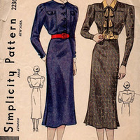 Simplicity 2236 Sewing Pattern Rare 1930s High Fashion Dress Lap Pleat Skirt High Neck Shawl Double Collar Blouse Depression Era Bust 34