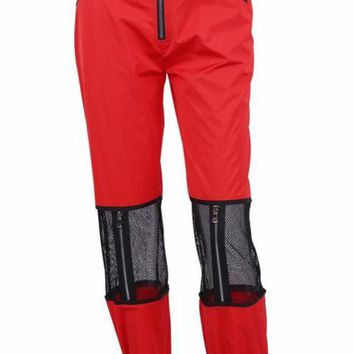 Red Mesh Patchwork Jogger Pants