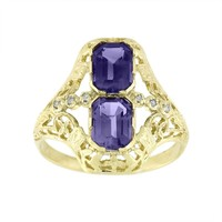 Past Perfect 10k Gold Amethyst & Diamond Accent Ring (Stone/Amethyst/Gold)