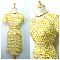 Vintage 1980s dress // Diamond Print Dress // 80s yellow wiggle dress