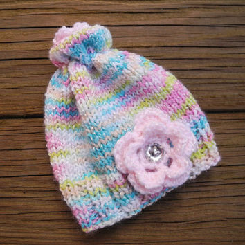 Newborn Baby Hat - Photo Prop Knit Baby Beanie - Baby Girl Clothes - Pink Flower Hat - Pink Bling