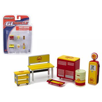 Greenlight Muscle 6pc Set Shop Tools Shell Oil 1:64 by Greenlight