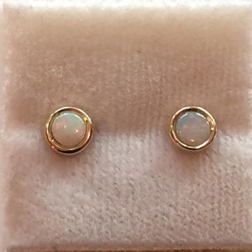 4mm Cabochon Stud Earrings With Opal