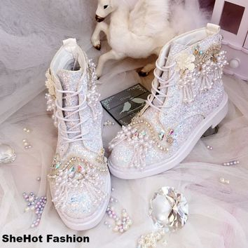 Women Vintage Fashion Sequins Pearl Handmade Platform Shoes