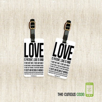 Love Is 1 Corinthians 13:4-8 Luggage Tag Set Personalized  Luggage Tags - Full Metal Tags - Printed Address, text or quote