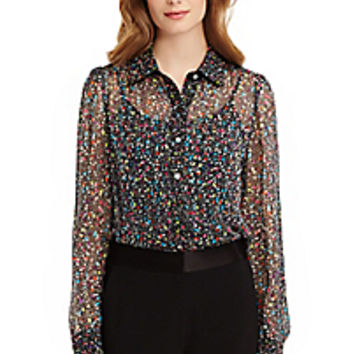 DVF Mariah Chiffon and Tweed Blouse
