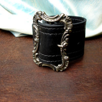 Wide Black Leather Cuff with Victorian Buckle  by UrbanHeirlooms