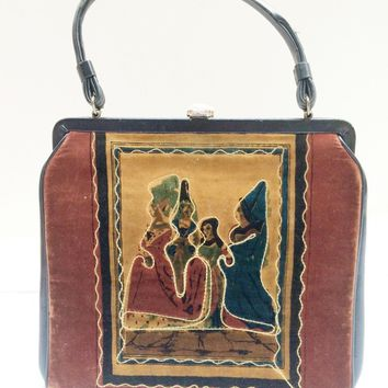 German Antique Purse Renaissance Fashionista Doctors Bag Velour Tapestry Vintage Accessory