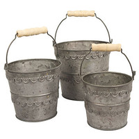 Set Of Three Antique Fiance Buckets