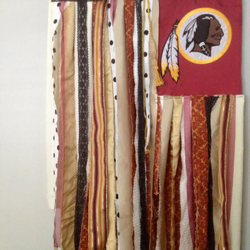 Football Flag - Washington Redskins Inspired Repurposed Wall Fiber Art - Whimsical Novelty Sports Flag