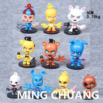 10 Pcs  At  Bobblehead Freddy Mangle Spring Bonnie Foxy the Pirate Fox Action Figure Collectible Model Toy W9