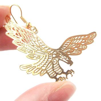Detailed Eagle Hawk Bird Shaped Dangle Earrings in Gold | Animal Jewelry