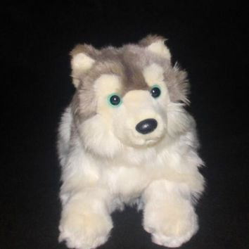 Laying Husky Dog Stuffed Animal Plush Toy 11""
