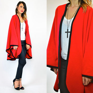 crimson VOLUMINOUS preppy cashmere COLORBLOCK mod CAPE coat, one size fits all
