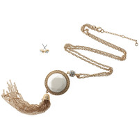 Round Bead Long Tassel Necklace with Stud Earrings