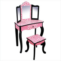 Teamson Kids - Leopard Vanity Table & Stool Set-TD-11670A