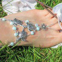 Sized Pair Turtle Nautical Barefoot Sandals, Turquoise, Pearl, Freshwater Pearl, Sea Turtle, Beach Jewelry, Barefoot Sandles, Beach Accessor