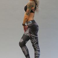 Drop Dead Fit Grey & Black Camo Legging