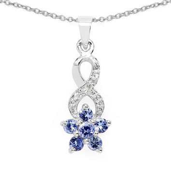 0.79 Carat Genuine Tanzanite & White Topaz .925 Sterling Silver Pendant