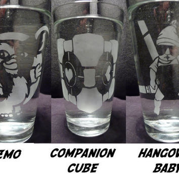 ANY 4 Glass Designs 16 oz by geekyglassware on Etsy