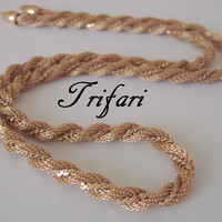 Vintage Trifari Gold Tone Mesh Rope Twist Necklace * Highly Polished Accent Chain * Jewelry * Jewellery