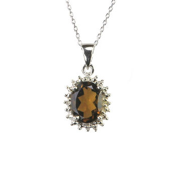 Stunning 925 Sterling Silver Diamond and Smoky Quartz Necklace 16mm Oval