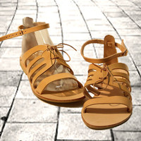 Greek Tan leather sandals, women sandals, authentic handmade sandals, women shoes, stylish sandals, restro design with lace