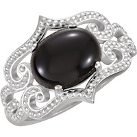 Sterling Silver Oval Onyx Cabochon Granulated Design Ring