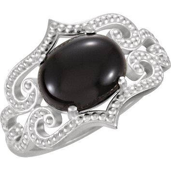 Sterling Silver Onyx Granulated Design Ring