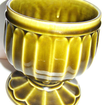 Floraline USA Planter, Olive Green with Art Deco Design, Mid Century, Vintage Pottery, USA,  No Chip or Cracks, Excellent