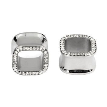 Kadima Body Piercing Jewelry One Pair (2pcs) Stainless Steel Double Flare Square Ear Tunnel Plug with Clear Gemstone Epoxy - 20MM