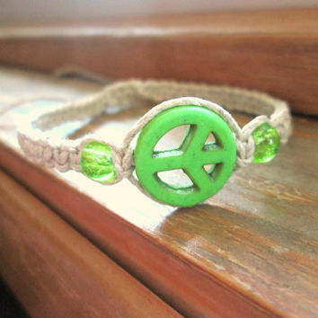 Peace Hemp Bracelet Glass Beaded Hippie Jewelry Hemp Hippie Peace Sign Bracelet