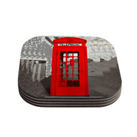 "Oriana Cordero ""London"" Red Gray Coasters (Set of 4)"