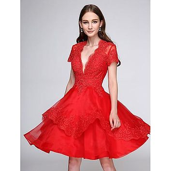 Women's Red Cocktail Dress with Appliques Button