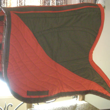 Bat Wing Saddle Pad Equestrian Baroque Style Two Toned Quilted All Purpose Western or Dressge Red and Brown Baroque Swallow Tail