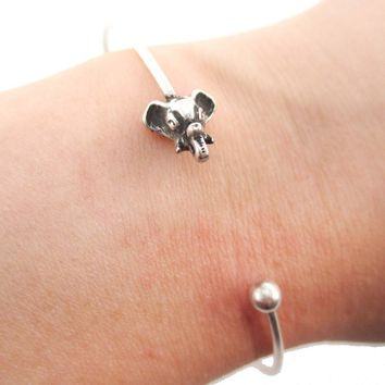 Minimal Bangle Bracelet Cuff with Elephant Charm in Silver | Animal Jewelry